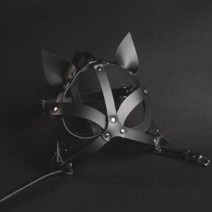 Black leather Harness Kitty mask