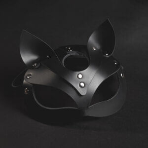 Black leather Kitty mask