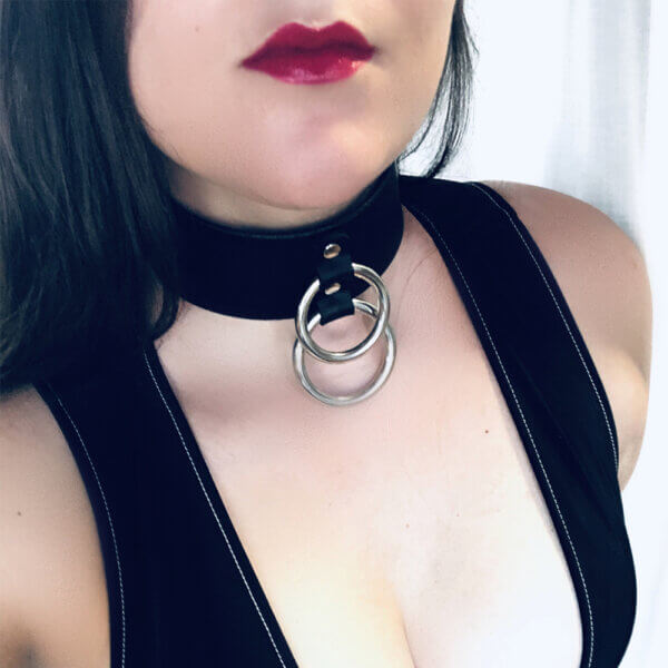 Girl with black leather choker