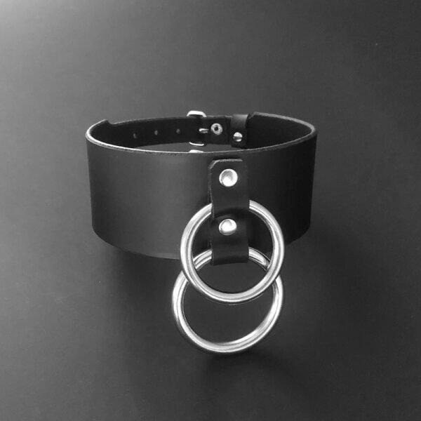 Wide black leather choker with two rings
